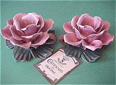 Capo Di Monte Rose Candle Holders