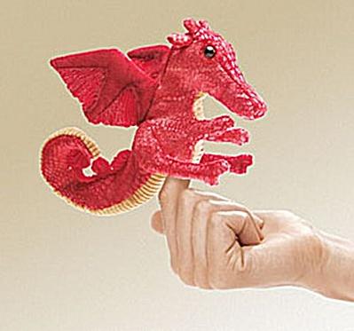 Folkmanis Finger Puppet Red Dragon (Image1)