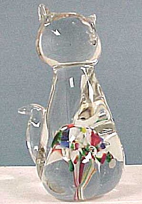 Glass Paperweight Cat (Image1)