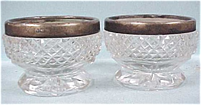 Vintage English Glass & Sterling Open Salt