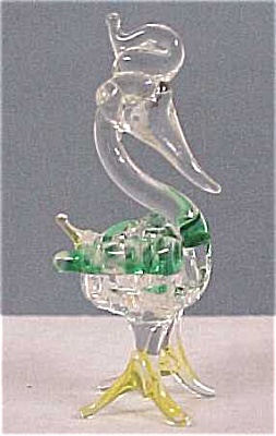 Glass Miniature Bird With Spun Glass Body