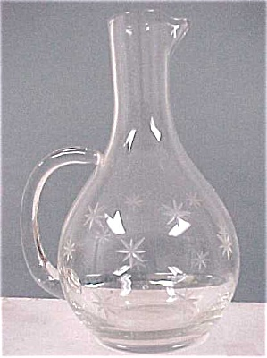 Small Clear Glass Handworked Pitcher
