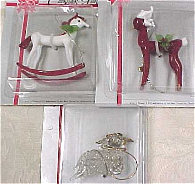 Three Glass Christmas Ornaments