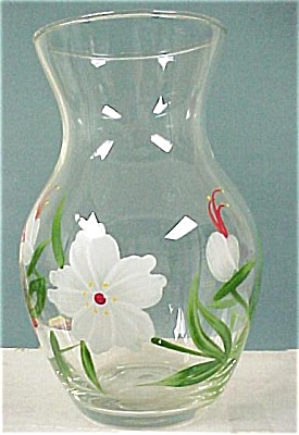 Clear Glass Vase With Handpainted Flowers (Image1)