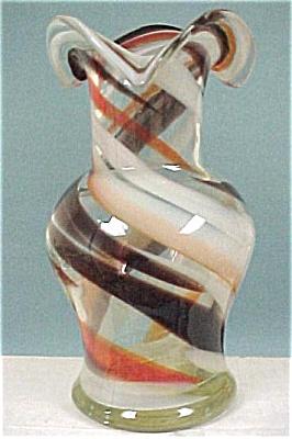 Swirl Clear, Brown, Orange, White Glass Vase (Image1)