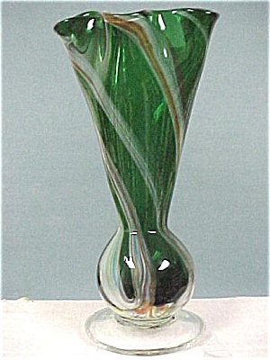 Green With Ribbon Blown Glass Vase