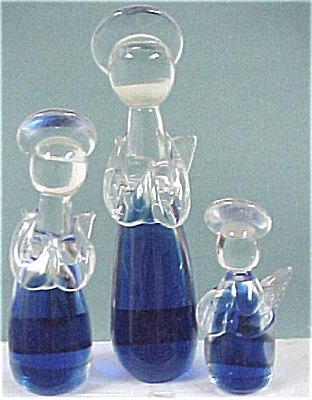 Cobalt Blue and Clear Glass Angel Trio (Image1)