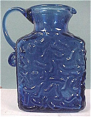 Blue Glass Bottle With Applied Handle (Image1)