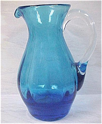 Blown Art Glass Blue Pitcher (Image1)