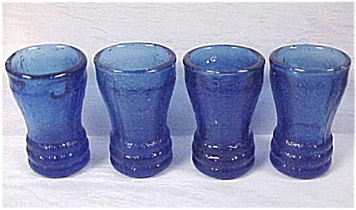 Four Miniature Blue Glass Child's Toy Tumblers (Image1)