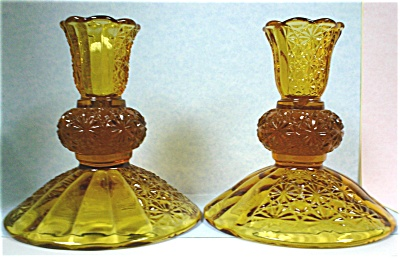 Amber Glass Candle Stick Holder Pair (Image1)
