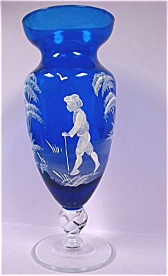 Mary Gregory Style Cobalt Vase
