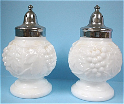 Imperial Milk Glass Grape Design S/p Set
