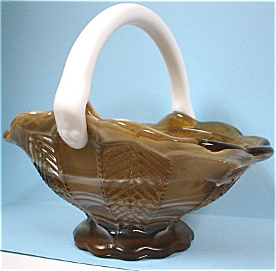 Imperial Carmel Slag Glass Basket (Image1)