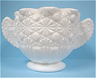 Milk Glass Daisy Button Sugar Bowl