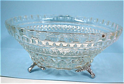 Small Clear Glass Dish With Metal Feet (Image1)