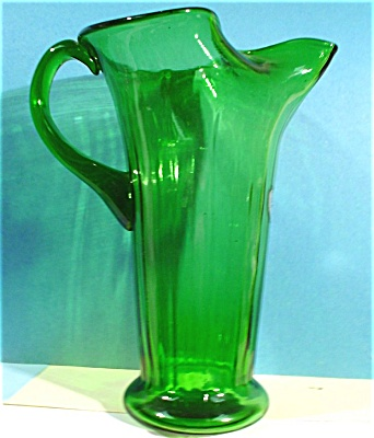 Rossini Italy Blown Glass Green Pitcher (Image1)