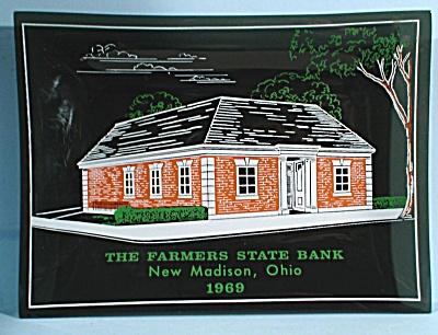 1969 Glass Advertising Dish New Madison Ohio Bank (Image1)