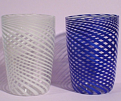 Beautiful Delicate Blown Glass Juice Tumbler Pair
