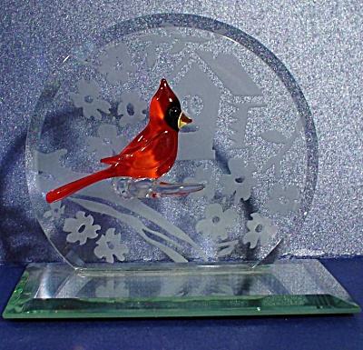 Glass Miniature Cardinal Scene (Image1)