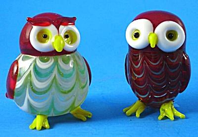 Lenox Art Glass Owl Figure Pair (Image1)