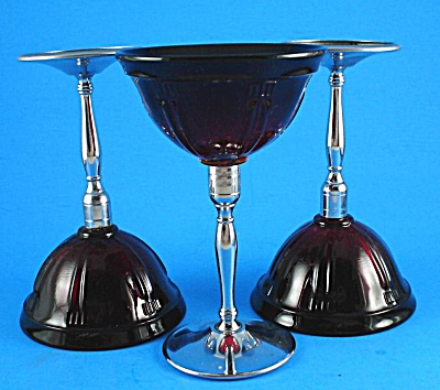 Three Ruby Red Glass with Chrome Stem Cocktail Glasses (Image1)