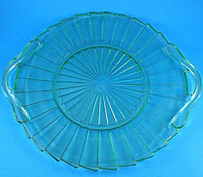 1930s Jeanette Glass Sierra Pattern Green Platter (Image1)