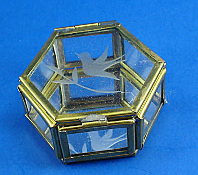 Miniature Glass And Brass Trinket Box