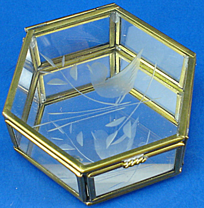 Miniature Glass Trinket Box, Bird Design