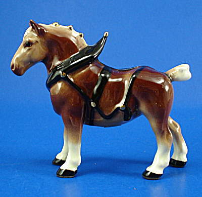 Hagen-renaker Miniature Draft Horse In Harness