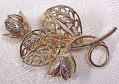 Lovely Goldtone Rosebud Pin