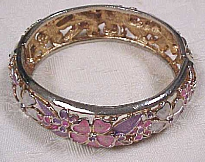 Kramer Floral Enameled Hinged Bangle (Image1)