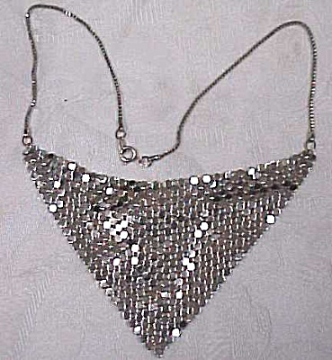 Unmarked Silvertone Drape Choker Necklace