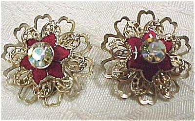 Gold Tone Red Enamel Rhinestone Clip Earrings (Image1)