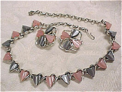 Unmarked Pink And Grey Choker And Earring Set