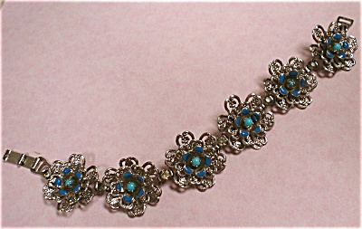 Signed Enameled Flower Bracelet