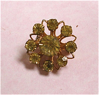 Coro Yellow Rhinestone Pin