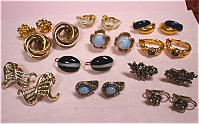 Eleven Pair Of Vintage Unsigned Clip Earrings