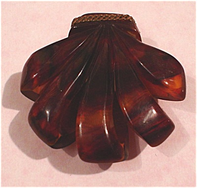Faux Tortoise Bakelite Dress Clip