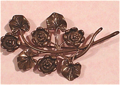 Tarnished Sterling Flower Pin