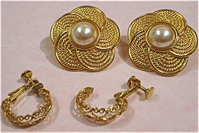 Two Pair Of Napier Adjustable Clip Earrings