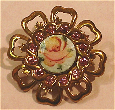 Coro Rose And Rhinestone Pin
