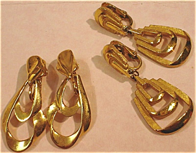 Two Pair Of Trifari Clip Earrings