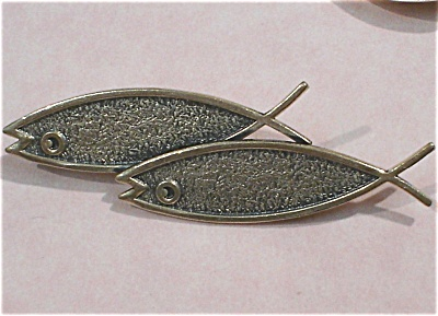 Beau Sterling Silver Double Fish Pin