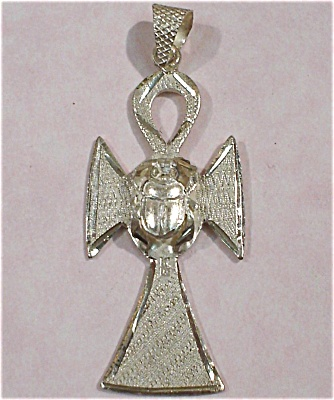 Sterling Cross With Scarab Beetle Pendant