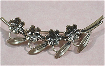 Beau Sterling Silver Flower Pin