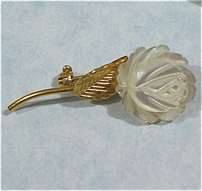 Wells Tiny Carved Mother Of Pearl Flower Pin