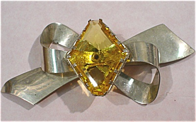Large Sterling Yellow Glass Stone Bow Pin