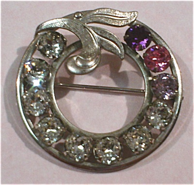 Van Dell Sterling Silver Rhinestone Circle Pin