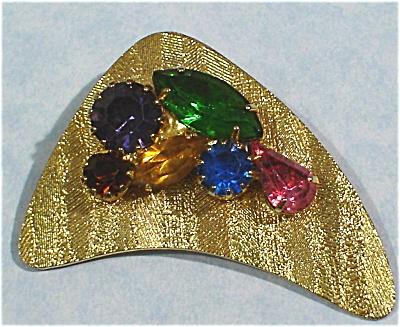 Unmarked Goldtone Multi-Colored Rhinestone Pin (Image1)